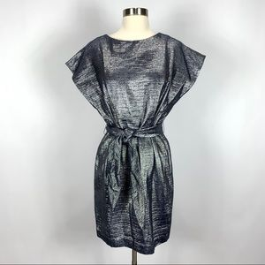 Veronica Beard metallic front tie dress